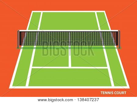 Green tennis court with low net stretched across the center viewed slightly from top with visible length and width. Vector illustration of isolated on bright orange background.