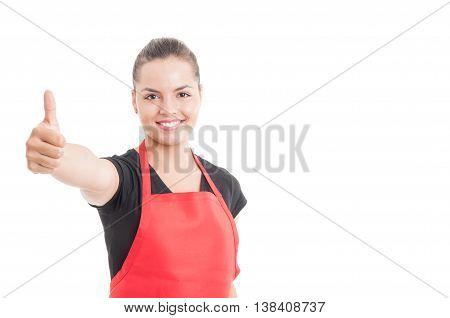 Portrait Of Beautiful Store Employee Showing Like Sign