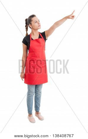 Supermarket Young Employee Showing Or Indicating Something