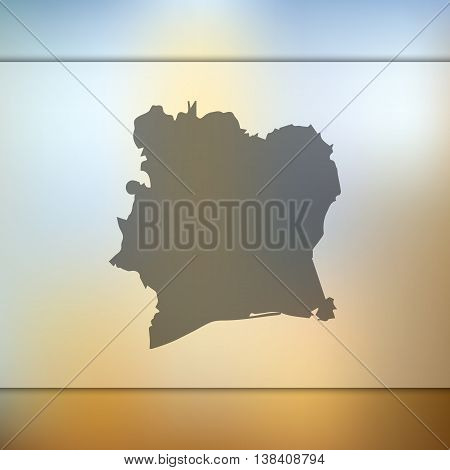 Cote d'Ivoire map on blurred background. Cote d'Ivoire. Cote d'Ivoire map.