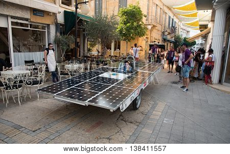 NICOSIA,  CYPRUS JUNE 25: Solar powered cars parading to awake people for the benefits of the use of renewable energy during the annual event in the streets of Nicosia in Cyprus on June 25, 2016.