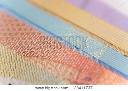 Veer of Euro banknotes compilation. Super close up. Macro.