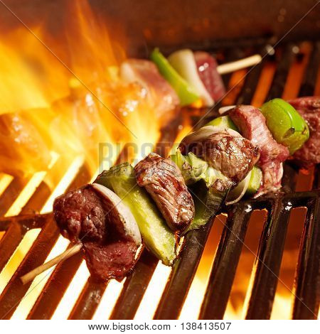 beef shish kabobs on the grill. BBQ kebab