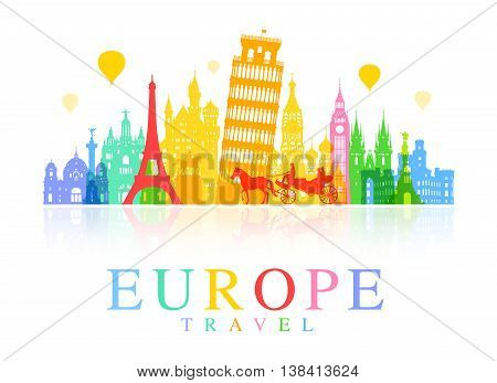 Europe Euro Travel Landmarks. Vector and Illustration