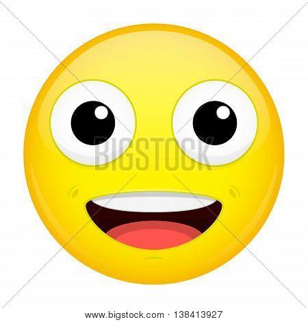 Сute smiling emoji. Good emotion. Sweet happy emoticon. Vector illustration smile icon.