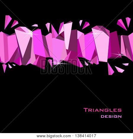 Glamour banner for girl party design. Pink abstract geometric triangles stripe on black background. Horizontal ruby diamond crystal border vector illustration - stock vector.