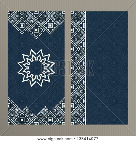 Set of abstract vector cards. Two vector templates with elegant oriental design. Vector menu cards. Vector templates for restaurant menu. Vector menu templates in islamic style.