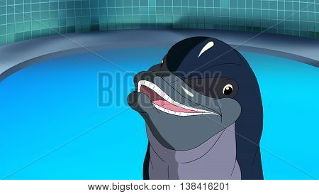 Smiling dolphin is waiting for the children in the dolphinarium. Digital painting cartoon style full color illustration.