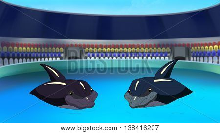 Two Smiling Dolphins in a Dolphinarium waiting for the children in the early morning. Digital painting cartoon style full color illustration.