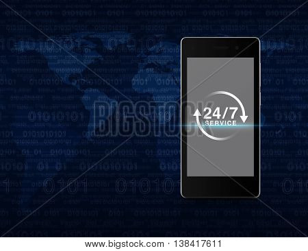 24 hours service icon on modern smart phone screen over computer binary code blue background Full time service concept Elements of this image furnished by NASA