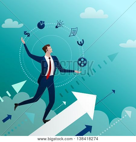 The successful businessman with excellent skills easily and professionally copes with all tasks and processes the case to growth. Concept.