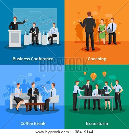Business Conference Concept. Business Meeting Vector Illustration. Conference Flat Icons Set. Conference Design Set. Conference Isolated Elements.