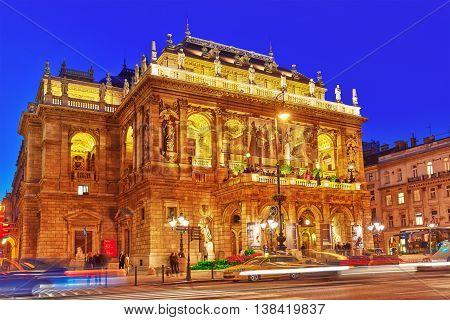 Budapest, Hungary-may 05,2016: Hungarian State Opera House  Is A Neo-renaissance Opera House Located