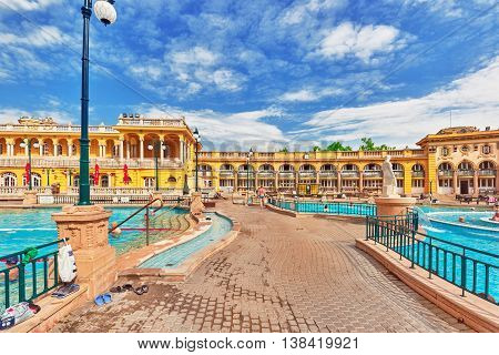 Budapest, Hungary- May 05,2016: Courtyard Of Szechenyi Baths, Hungarian Thermal Bath Complex And Spa