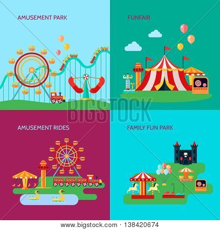 Amusement park concept icons set with amusement rides symbols flat isolated vector illustration