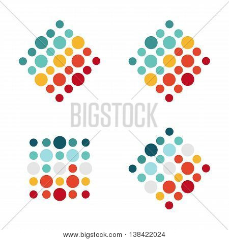 Abstract isolated colorful logotype. Circle logo set. Abstract vector illustration. Circle vector unusual single logo collection.