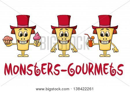 Set of Cute Cartoon Monsters Gourmets, Colorful Toy Characters in Red Holiday Toppers, Smiling and Eating Juice and Food, Elements for Your Design, Prints and Banners, Isolated on White. Vector