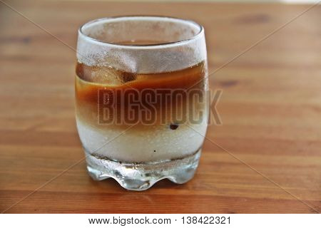 Home made ice Macchiato coffee on wooden table