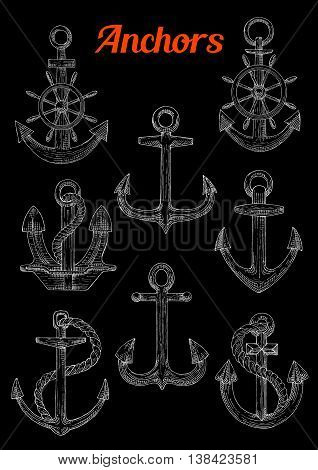 Sketch of stockless, admiralty or fisherman anchors with twined rope and steering ship s or boat s wheel. Can be used as naval or nautical symbol, maritime mascot marine sport design