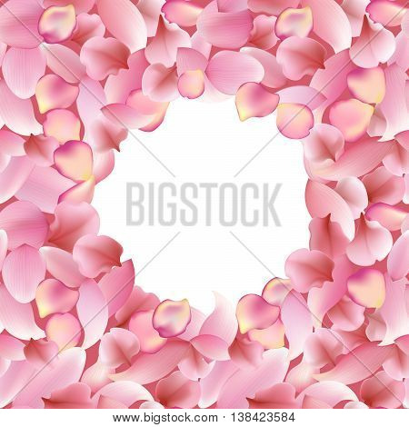 Texture from rose sakura and lotus petals. Background with white round place for text. seamless vector pattern eps10 floral template