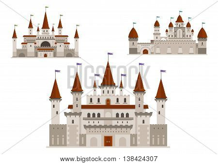 Medieval palaces or royal castles, ancient fort or residential mansion with towers and spires with flags, antique gate. Buildings in cartoon style for history or childish, fairytale books design