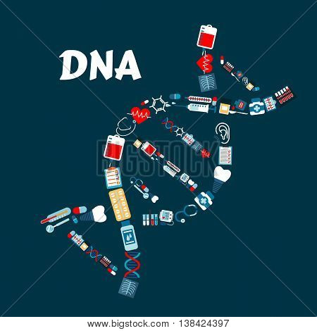 DNA or deoxyribonucleic acid formed of healthcare or medicine icons. Radiograph or roentgenogram, syringe and heart with pulse or cardiogram, sphygmomanometer and molecule, blood pack and dental implant, thermometer and pill or tablet, stethoscope