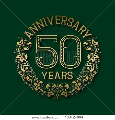 Golden emblem of fiftieth years anniversary. Celebration patterned logotype with shadow on green.