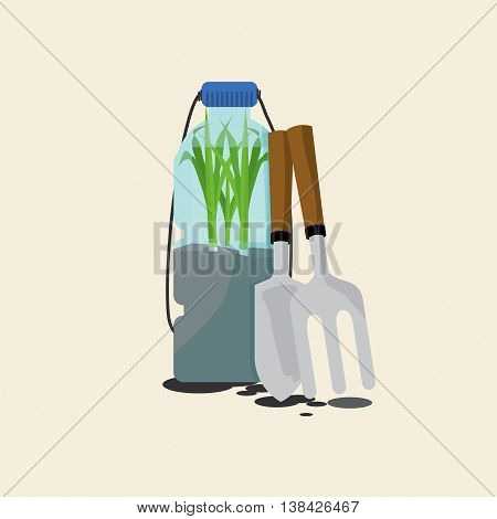 Green Onions Cultivating In Reuse Water Bottle Vector Illustration. EPS 10