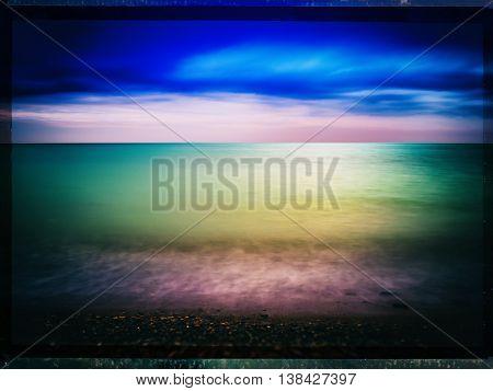 Horizontal vintage postcard with dramatic ocean tidal waves background backdrop