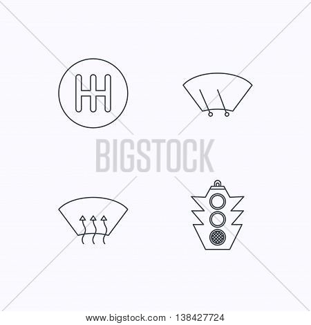 Traffic lights, manual gearbox and wiper icons. Heated window, manual transmission linear signs. Washing window icon. Flat linear icons on white background. Vector
