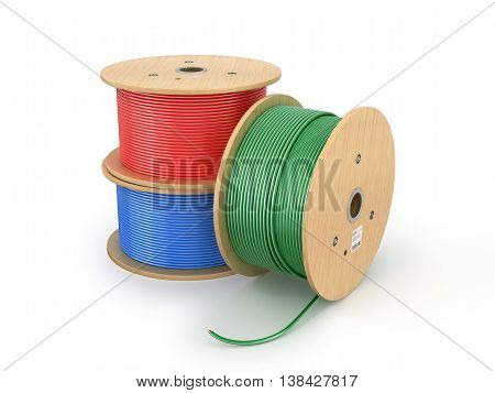 Wooden coil of electric cable isolated white background. 3D illustration.