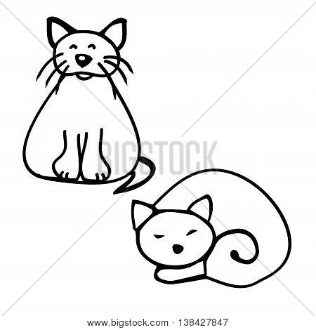 Drawing of two cats doodle, vector 0