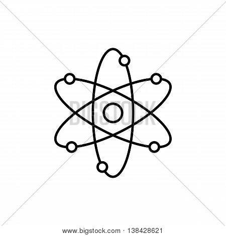 Thin line icon of nuclear power, atomic energy, model of atom, scientific research, smallest particle, molecular structure. Modern style logo vector illustration concept.