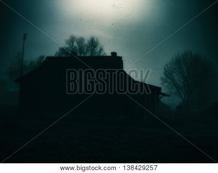 Horizontal Classic Zombie Horror Cabin With Zombie Scary Backgro