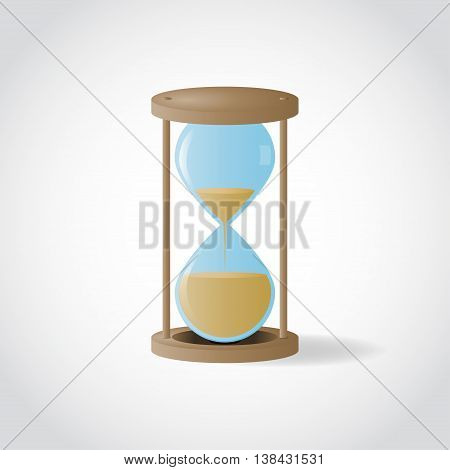 Vector wooden hourglass with sand inside on white-gray background. Isolated vector hourglass.