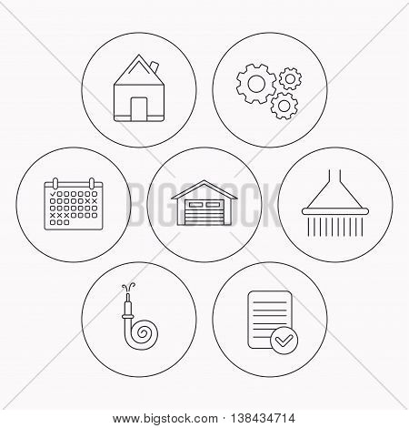 Real estate, garage and shower icons. Fire hose linear sign. Check file, calendar and cogwheel icons. Vector