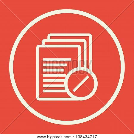 Files Reject Icon In Vector Format. Premium Quality Files Reject Symbol. Web Graphic Files Reject Sign On Red Background. poster