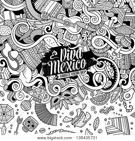 Cartoon cute doodles hand drawn latinamerican frame design. Line art detailed, with lots of objects background. Funny vector illustration. Sketchy border with Latin America theme items