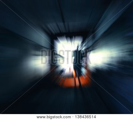 Horizontal vivid stalker exploring the tunnels motion abstraction background backdrop