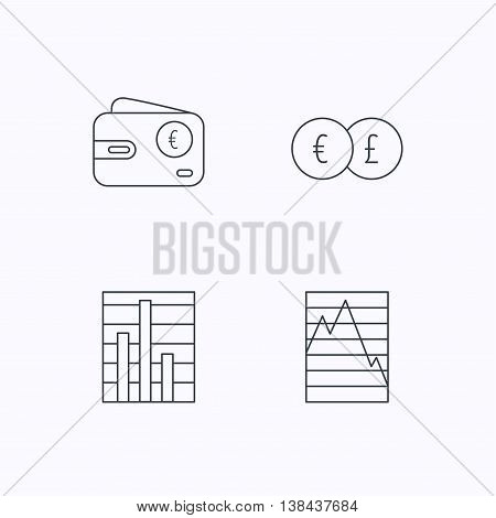 Currency exchange, chart and euro wallet icons. Statistics graph linear signs. Flat linear icons on white background. Vector