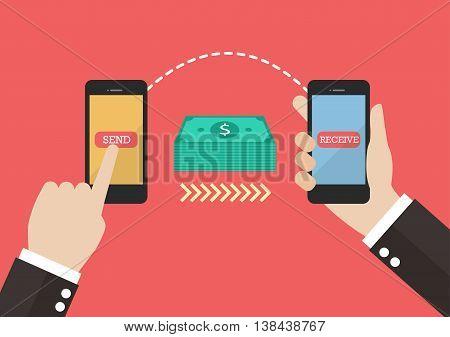 Transfer money by smart phone. vector illustration