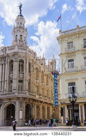 HAVANA, CUBA - MARCH 17, 2016: The historic Hotel Inglaterra and the Great Theater near Central Park in Havana the capital of Cuba