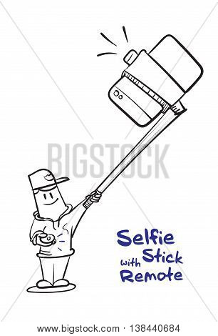 Boy Selfie With Stick And Click Remote To Shoot A Photo,social Concept,drawing Black And White