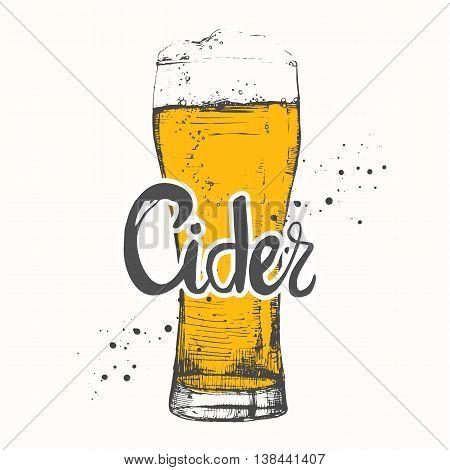 Drink Menu. Vector Illustration With Glass Of Cider.