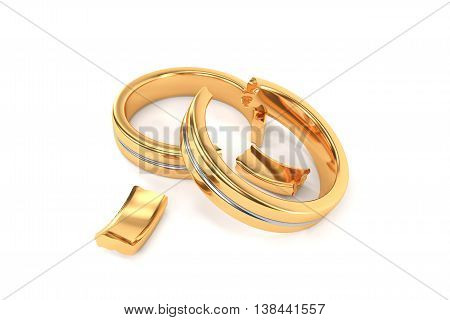Wedding Rings Symbolizing The Divorce Between Two People