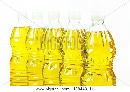Five bottles oil of refined palm olein from pericarp poster
