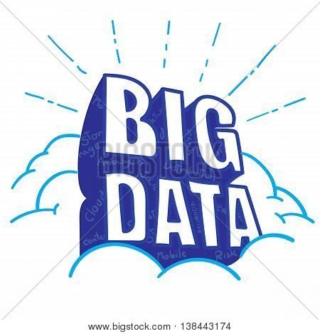 Vector : Big Data Word On Cloud With Big Data Feature Word Inside Blue Shadow, Doodle Style