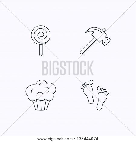 Footprint, lolly pop and muffin icons. Hammer linear sign. Flat linear icons on white background. Vector