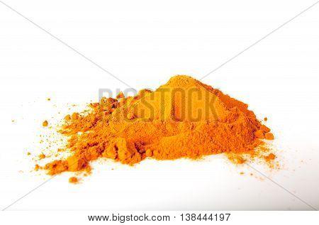 Turmeric (Curcuma)  spice isolated on white background.