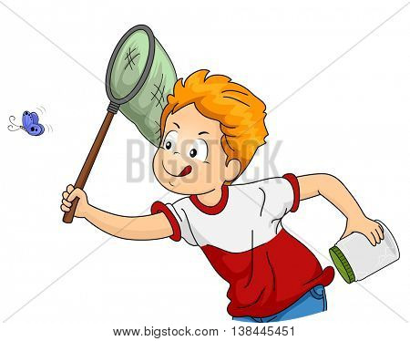 Illustration of a Little Boy Chasing After a Butterfly